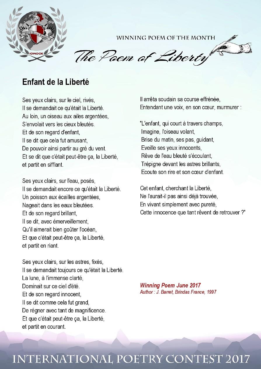 Poemes Gagnants Juin 2017 Concours Edition 2017 Iofarn